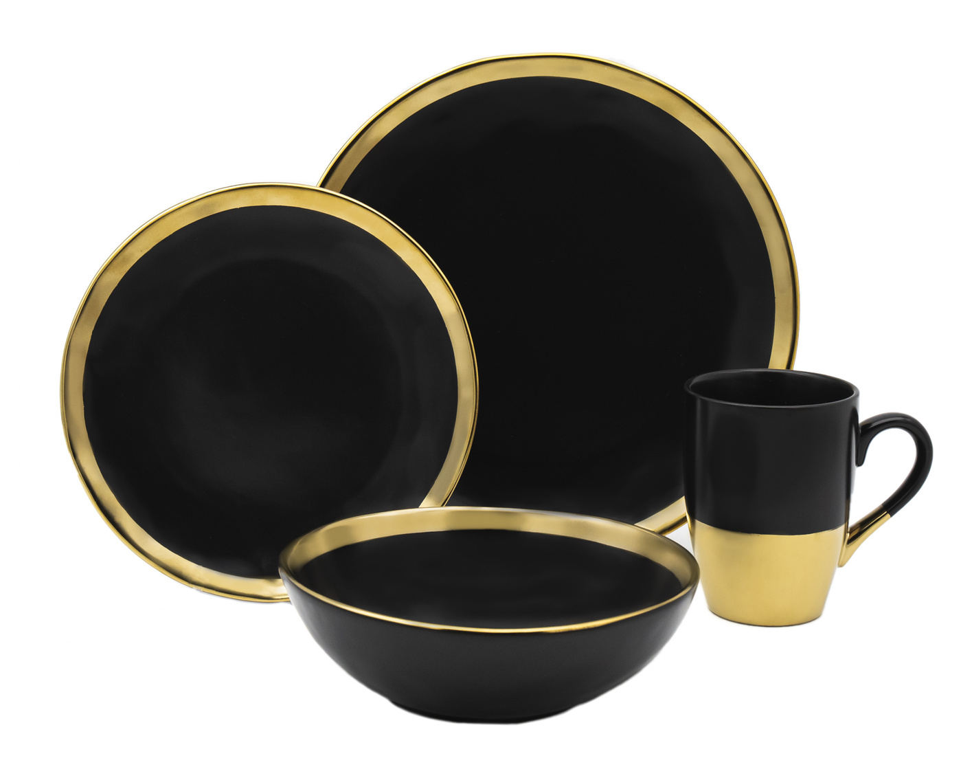 Golden Onyx 4 Piece Dinner Set  Black Gold