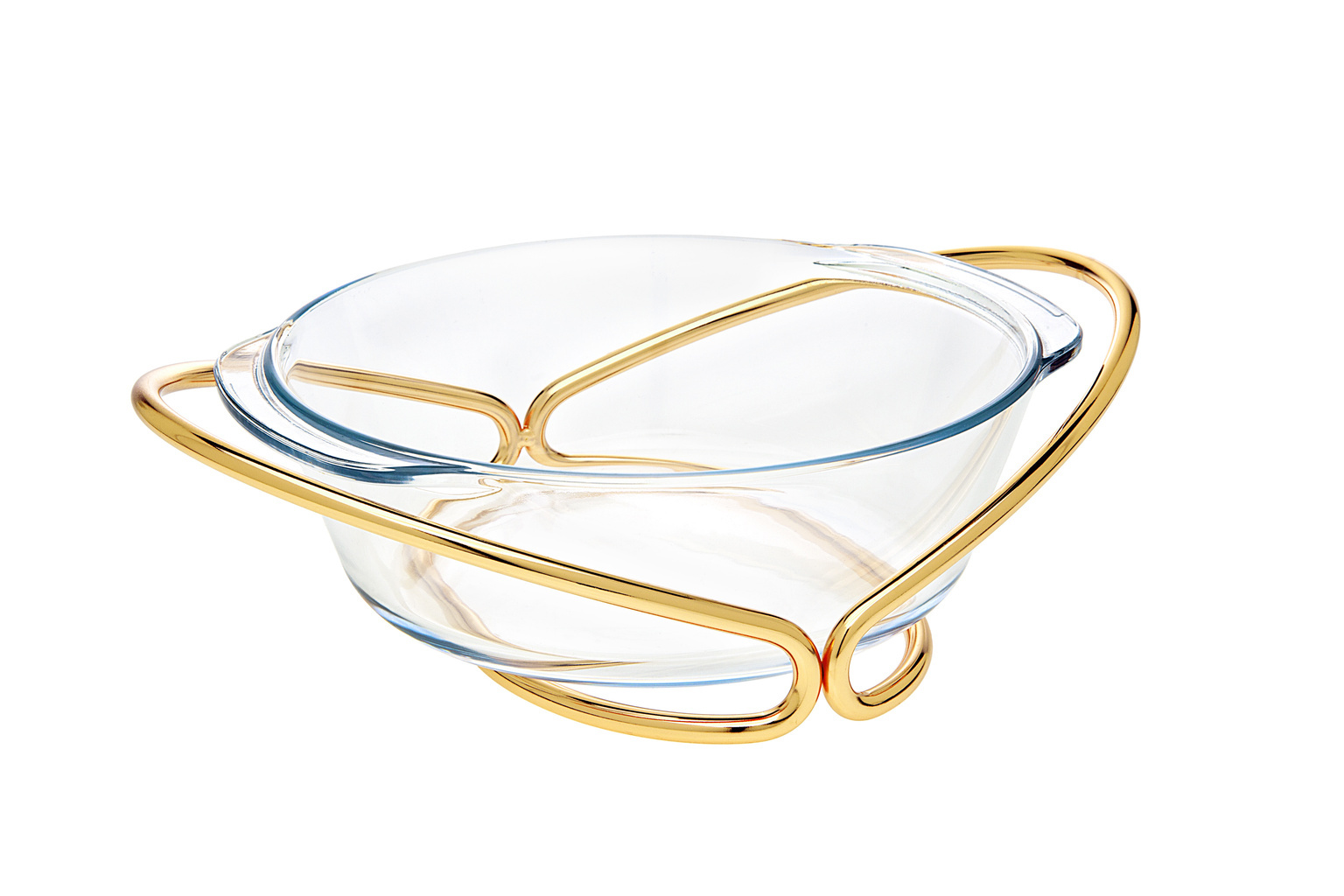 Gold 2QT Rectangle Baker With Holder